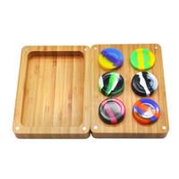 Хороший красочный Силиконовый контейнер коробка бамбук набор для хранения банок прокатки коробка точильщик лоток для таблеток порошок травы курительная трубка инструмент DHL бесплатно