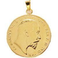 P (09) Colgante de monedas 1902 Edward VII Soberano Londres Mint Lustre Superb Joyería de moda plateada (diámetro: 22mm)