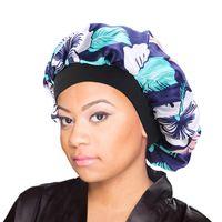 Le donne Satin Notte Salone di bellezza di sonno di capelli della protezione di copertura del cappello Bonnet seta testa larga fascia elastica Per ricci Springy Capelli Cap Chemo