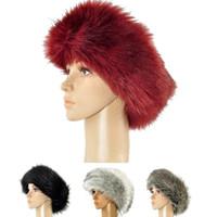 Estilo ruso la piel de imitación diadema Mujeres Winter orejera del sombrero de esquí Cinta de cabeza del casquillo del sombrero de nieve esponjosa