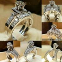 Мода 925 серебристый наполненный свадьба свадебный набор кольца круглый разрез белый сапфир размер 6-9 обручальные кольца обручальные украшения для женщин