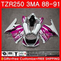 바디 용 YAMAHA TZR250 3MA TZR 250 RS RR YPVS TZR250RR 118HM.108 TZR-250 88 89 90 91 로즈 화이트 핫 TZR250 1988 1989 1990 1991 페어링 키트