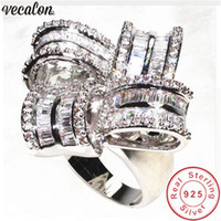 Vecalon Deluxe Promise Ring 925 sterling silver Diamond Big ...