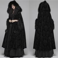 Capa de la capa de invierno de piel negra con capucha con adornos de impresión Long Wraps Wraps Chaquetas Especial Partido Banquete Gótico Wrap Wedding Bride Wear