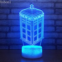 Doctor Who Tardis Police Box 3D Colorful Table Lamp 7 Color ...