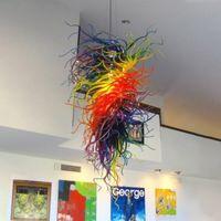 Lambalar Kapalı Avizeler Aydınlatma Girdap Kolye Işıkları Gökkuşağı Renk 100% Galeri Için Ağız Üflemeli Cam Avize Oturma Odası Sanat Dekorasyon