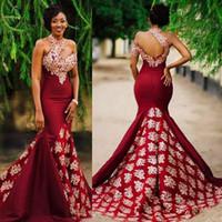 2019 Sereia Borgonha Prom Vestidos de Noite com Rendas Applique Alta Pescoço Africano Tribunal Trem Mulheres Formais Vestidos de Festa