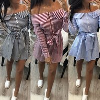 Womens Long Sleeve Striped Shirt 2018 Summer Fashion Ladies Off-shoulder Maxi Blouse Evening Party Shirt Button Holiday Shirts