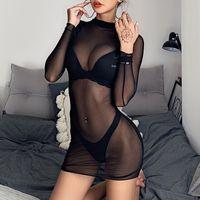 88087 mesh gauze dress European and American cross-border sexy perspective mesh gauze long-sleeved hips body wrap skirt