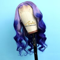 Purpe Ombre Blue Full Lace Human Hair Wigs with Baby Hair Na...