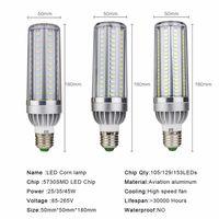 Luz de milho de alta potência E27 lâmpada 25w 35w 50w Bulbos de vela 110V E26 LED lâmpada de alumínio de lâmpada refrigerar sem luzes de cinza 2835