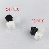 20/410 24/410 Siyah / Beyaz / Şeffaf Plastik Disk Üst Kapağı, Yüksek Kaliteli Cap İçin Kozmetik Şişe (100 PC / Lot)