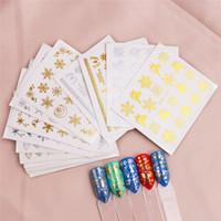 Novos 16 folhas / prego Set Ouro Prata Natal Art Stickers Snowflake Elk prego decalque presente Nails Ferramenta de Manicure
