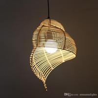 Юго-Восточной Азии бамбук подвесные светильники Светильник Пастырское Rattan Escargot Подвеска Лампы Hotel Restaurant Столовая Кафе Паб Бар висячие лампы