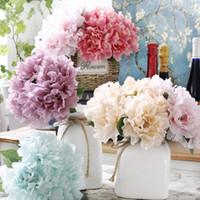 Guirnaldas de flores decorativas 5 unids / lotes Seda artifcial Peony Bouquets Hydrangea Wedding Wall Decoración blanco rosa rosa falso bricolaje accesorios