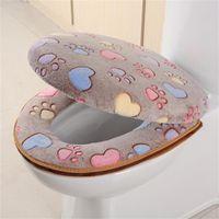 Горячего стульчак Обложка Коралл Velvet Closestool Mat Толстого стульчак Обложка Zipper многоразового Туалет Дело Теплых ванная туалет Покрытие