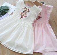 2019 nuevos vestidos de las muchachas del verano muchachas del estilo nacional flecha bordados niños vestido plisado Falbala de la mosca de la manga vestido de princesa