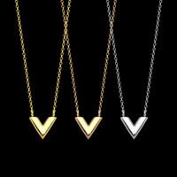 316L титана стали V Письмо двойной ожерелье клевера ожерелье ювелирные изделия для праздничных подарков