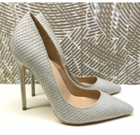 new 8cm 12cm 10cm large size 34- 45 serpentine gray fine heel...