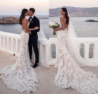 Blush sirène robes de mariée 2019 Sexy col en V profond de dentelle Backless plage Robes de mariée Robes De Noiva