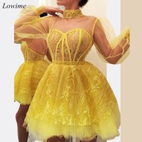 2020 cóctel corto atractivo de los vestidos de amarillo poeta de manga larga de encaje apliques de regreso a casa vestido mini longitud partido formal vestido de noche