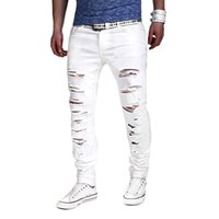 WENYUJH Fashion Mid Waist Cross Pants 2019 Neue Herren Jeans White Solid Ripped Distresses Washed Hole Pants Schlanke Baumwollhose
