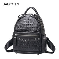 DAEYOTEN Genuine Leather Women Backpack Alligator Rivets Pun...