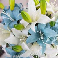 Mão Ofício Real Toque Lírios Flor Artificial Bouquets de Casamento Casa Decoração De Noiva Flores Decorativas 3 Cabeças de Decoração Para Casa com Navio Livre