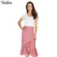 d89f777ca New Arrival. Women Sweet Ruffles Plaid Split Skirts With Lining Elastic  Waist Buttons Ladies Fashion Casual Mid-calf ...
