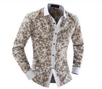 Uomini Camicia Floreale Estate Autunno Moda Abito Manica Lunga Uomo Casual Camicia Sottile Uomo Camicie Chemise Homme Marque