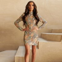 womens designerColorful sequins dress European style high co...