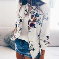Womens Jackets And Coats 2019 Women's Ladies Retro Floral Zipper Up Bomber Jacket Casual Coat Outerwear Oversize Lightweight