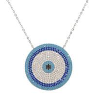 Большой круглый шарм Серебряный Шарм Micro pave блестящие циркония Lucky Blue Eye Ожерелье Элегантные милые Женщины Девушка Изысканные Подарки Ювелирные Изделия
