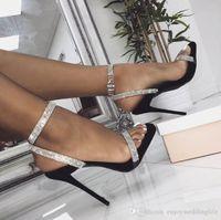 Великолепный серебристый горный хрусталь принцесса вечеринка высокие каблуки заостренный носок 11 см ступило-каблук церемония насосы насосы лодыжки свадебные туфли