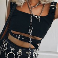 Goth Dark Tanks Top Eyelet Buckle Belt Waist Gothic Crop Tan...