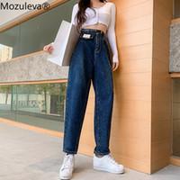 Mozuleva 2020 primavera nueva vendimia de cintura alta Slouchy verde del algodón Mom Jeans Denim Pantalón Harem mujeres ocasional otoño pantalones rasgado