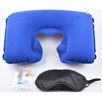 1 Seyahat Seti Şişme U şeklinde Boyun Yastık Air Minder + Göz siperliği + Kulak tıkacı DBC DH0660 Maske Sleeping in Yastık 3 Toptan Araba Yumuşak