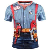 Mr.1991inc New Fashion Designad T-shirt Män / Kvinnor Fake Två bitar 3D T Shirt Print Tooling Stripes Skjortor Sommar Toppar Tees