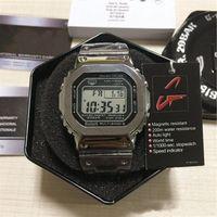 С коробкой G-стиль роскошные мужские наручные часы Верх Количество Светодиодный дисплей Спорт Студенческая Часы Шок Водонепроницаемый Квадратный Набор Золотой Ремешок Часы
