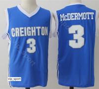 판매 3 Doug McDermott Jersey 남성 대학 농구 Creighton Bluejays Jersey 저렴한 팀 블루 컬러 통기성 대학 우수한 품질