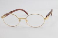 الجملة جولة نظارات العين خمر النظارات الخشبية النظارات البصرية الرجال 18 كيلو الذهب النظارات المعدنية إطارات الإطار الحجم: 55-22-135mm