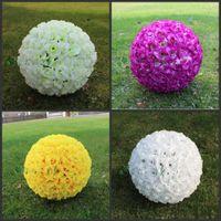 웨딩 장식 40cm 인공 로즈 실크 꽃 키스 공 Pomander 로즈 웨딩 꽃다발 매달려 공 파티 장식