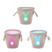 Paskalya bunny çanta ponpon tavşan kuyruğu kova çanta sepet Çuval Bezi Jüt Tote Çanta Paskalya yumurtaları Şeker Hediye Ç ...