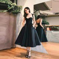 Küçük Siyah Gelinlik Modelleri Spagetti Sapanlar A Hattı 2019 Kısa Kokteyl Elbise Çay Boyu Siyah Abiye Örgün Parti Elbiseler