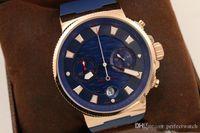 2018 새로운 도착 석영 크로노 그래프 손목 시계 로즈 골드 베젤 해골 팬텀 블루 다이얼 블루 고무 벨트 원래 접는 걸쇠