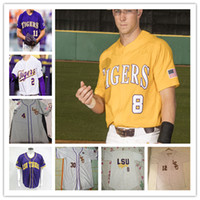 2020 College LSU Tiger Baseball Jersey 8 Alex Bregman Daniel Cabrera Drew Bianco Cade Doughty Aaron Nola Landon Marceaux Garza 4XL Custom