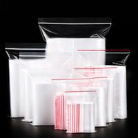 (100 adet / grup) Plastik Torba Toz Mühür Cep Giyim Ambalaj Fermuar Çanta Şeffaf Kalın PE Kilitli