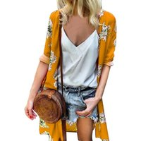 Chiffon Fashion Elegant Floral Print Beach Casual Long Sleev...