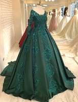 2020 Arabic Aso Ebi Luxurious Hunter Green Evening Dresses Lace Beaded Prom Dresses Long Sleeves Formal Party Second Reception Gowns ZJ332