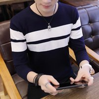 2020 Men' s Stripes Sweater Youth Casual round Neck Thin...